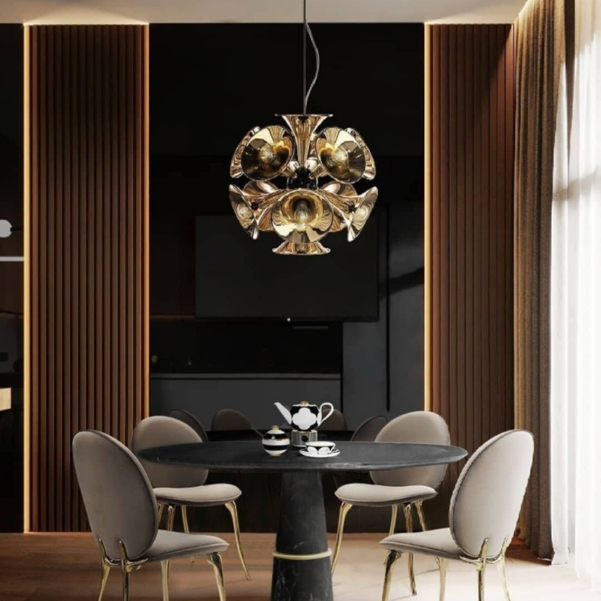 Dining Room Featuring Botti Pendant Lamp