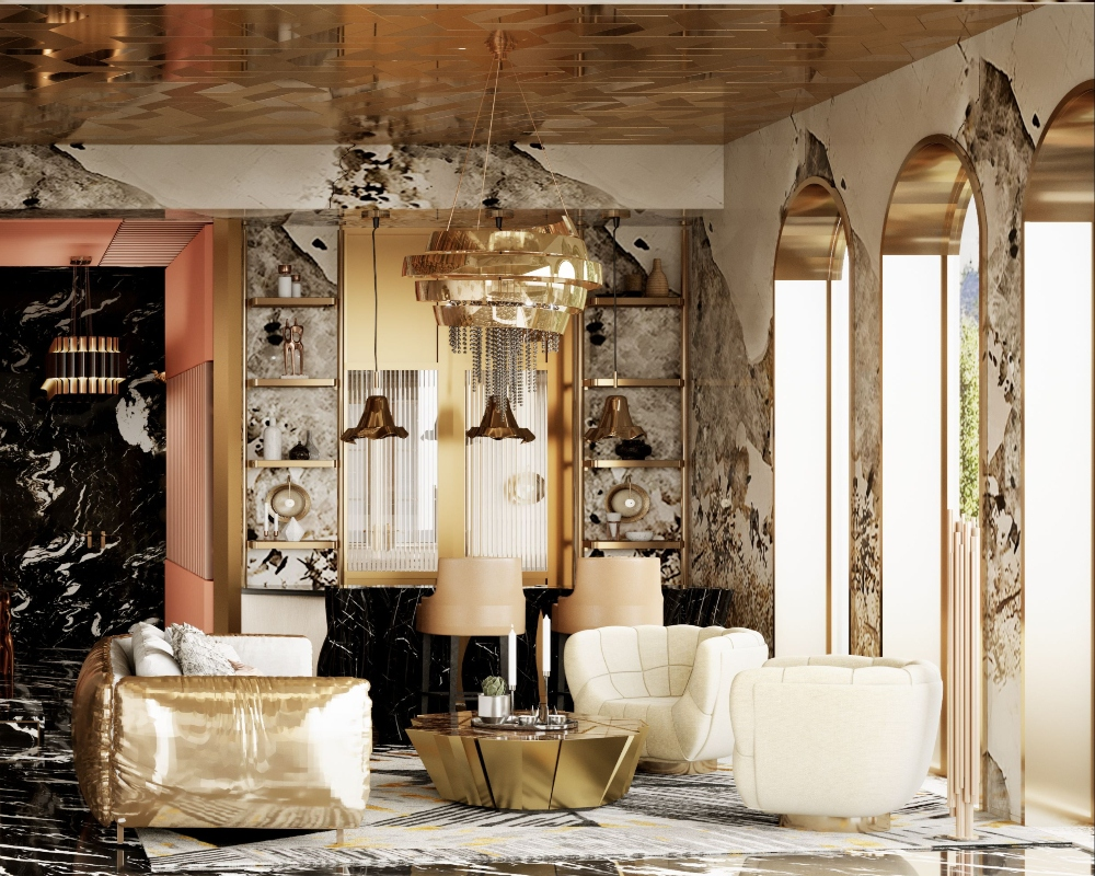 Golden Living Room In An Eclectic Design by Covet Lighting