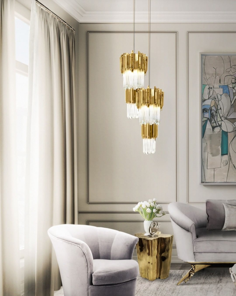 LIVING ROOM WITH EMPIRE PENDANT LAMP